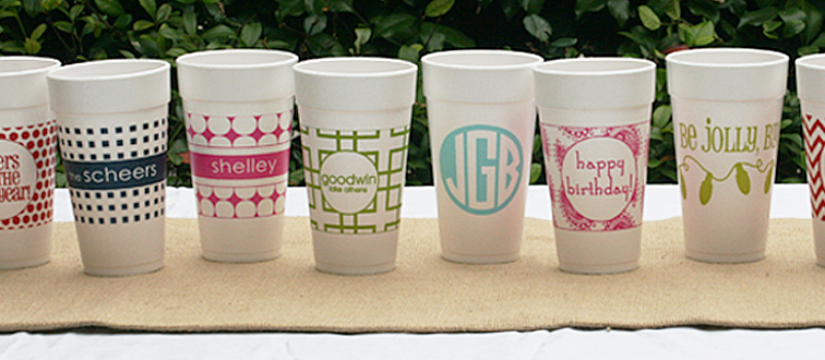 custom monogrammed styrofoam cups top of pageFOUR