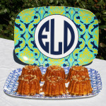 mini bundt cakes paired with meandredesign.com's custom monogrammed melamine platters make a special birthday gift!